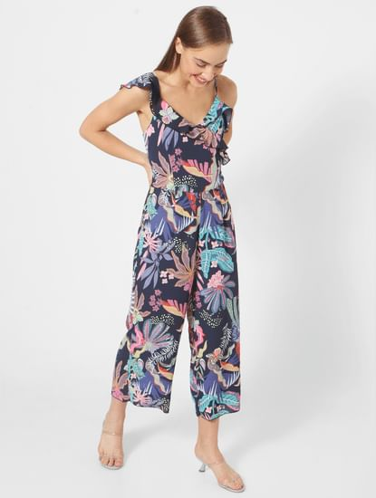 Blue All Over Tropical Print Sleeveless Jumpsuit