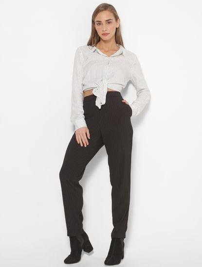 Black Mid Rise Striped Pants
