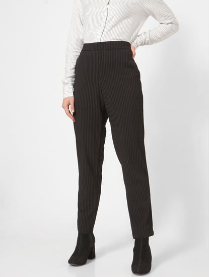 Black Mid Rise Striped Pants