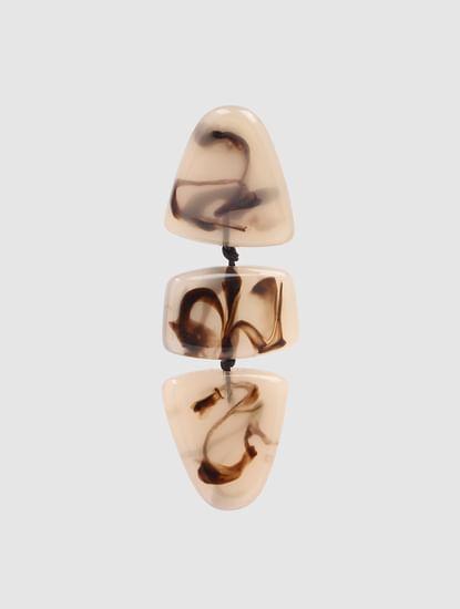 Beige Abstract Print Drop Earrings