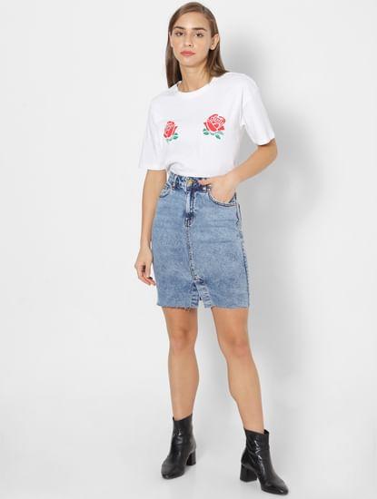Blue High Waist Denim Skirt