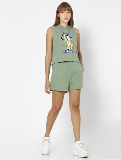 Green Mickey Mouse Print Lounge Sweatshirt