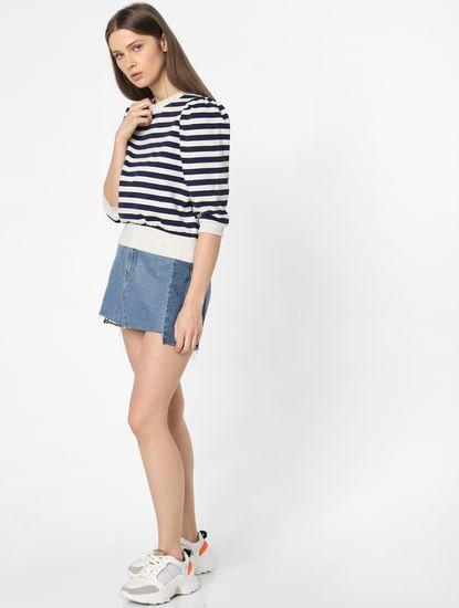 Blue Puff Sleeves Striped Sweatshirt