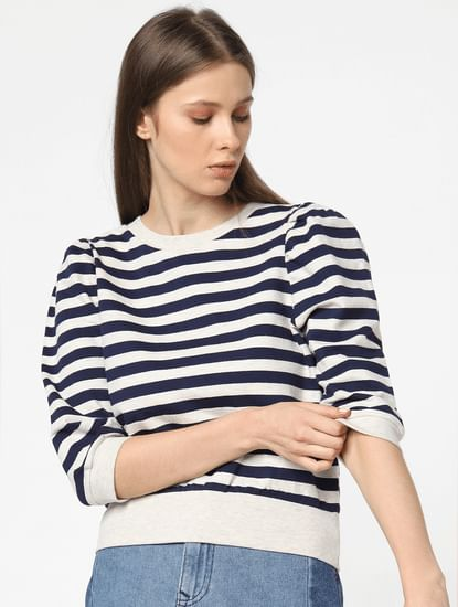 Blue Puff Sleeves Striped Sweatshirt