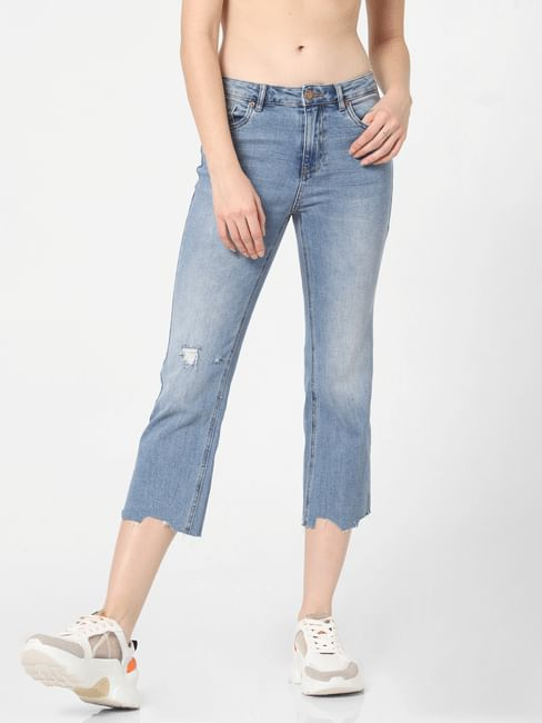 Blue Mid Rise Cropped Straight Fit Jeans