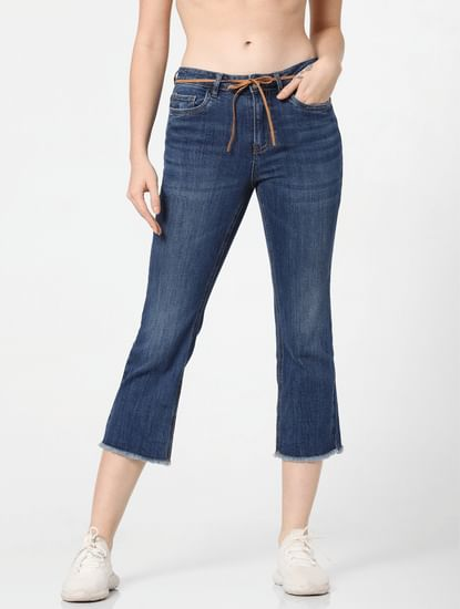 Dark Blue Mid Rise Cropped Flared Jeans
