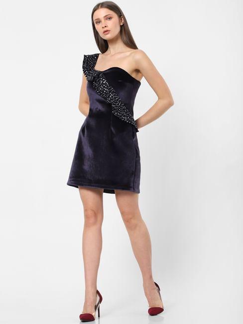 Blue Velvet One Shoulder Mini Dress
