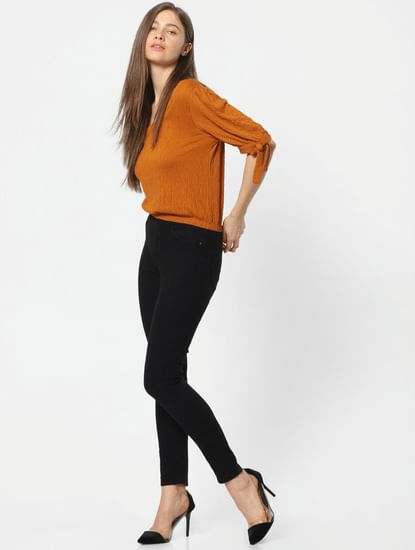 Black High Rise Washed Skinny Fit Jeggings