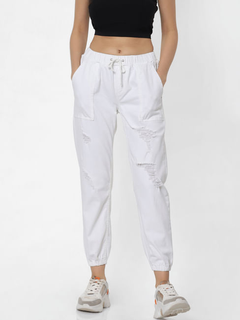 White Mid Rise Distressed Joggers