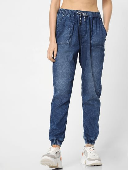 Dark Blue Mid Rise Washed Utility Joggers