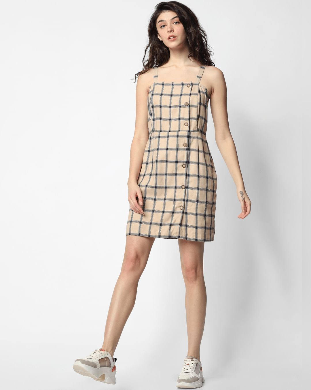 buy girls pink check mini dress online   only