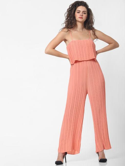 Peach Pleated Jumpsuit