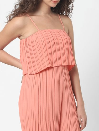 Peach Pleated Jumpsuit