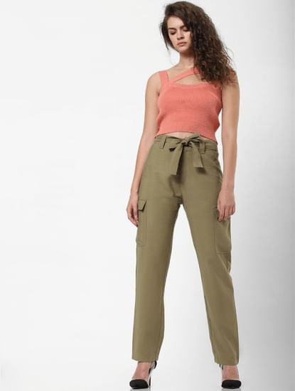 Green Mid Rise Belted Pants