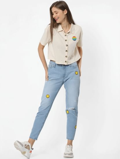 X SMILEY Blue Mid Rise Smiley Print Mom Jeans