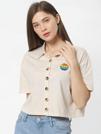 X SMILEY Beige Smiley Print Cropped Shirt