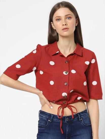 Dark Rust Polka Dot Cropped Shirt