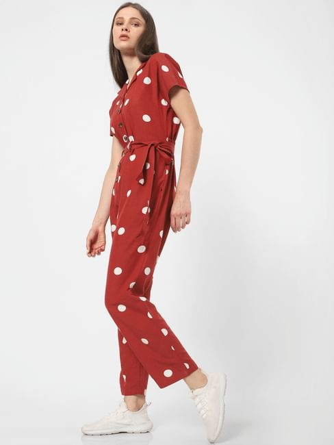 Dark Rust Polka Dot Jumpsuit