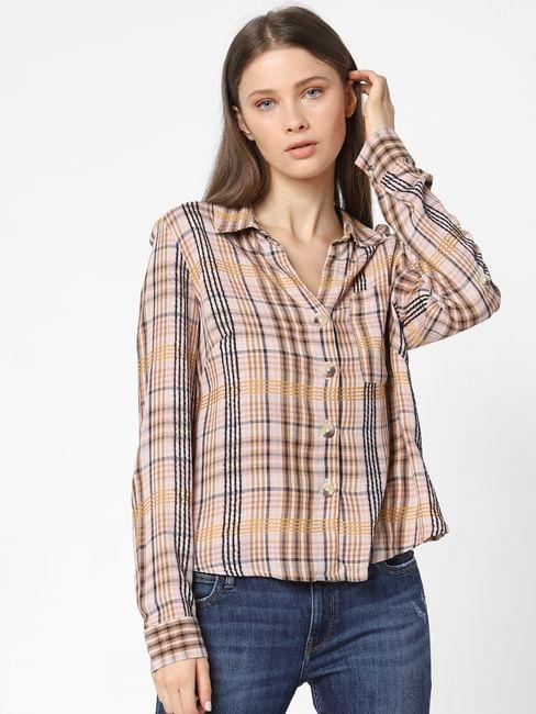 Pink Check Loose Fit Shirt