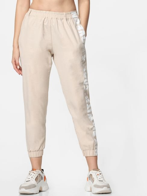 Beige High-Rise Tape Detail Joggers
