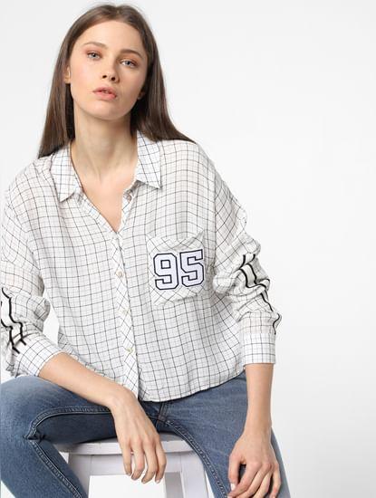 White Tape Detail Check Shirt