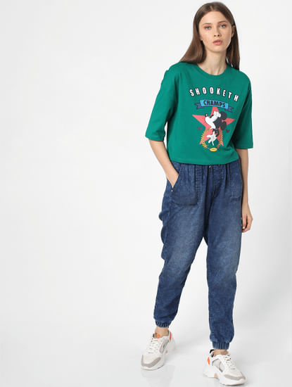 Green Mickey Mouse Print T-shirt