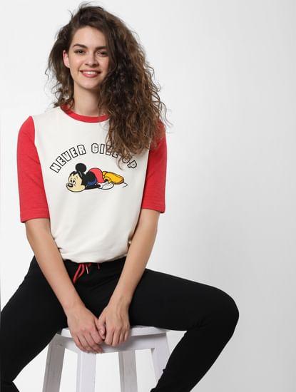 White Mickey Mouse Print T-Sweatshirt