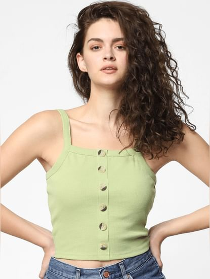 Green Buttoned Crop Top