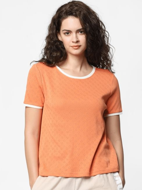 Orange Jacquard Top