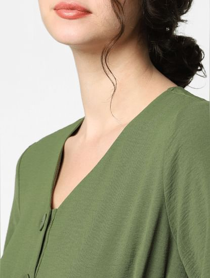 Green Crepe Midi Dress