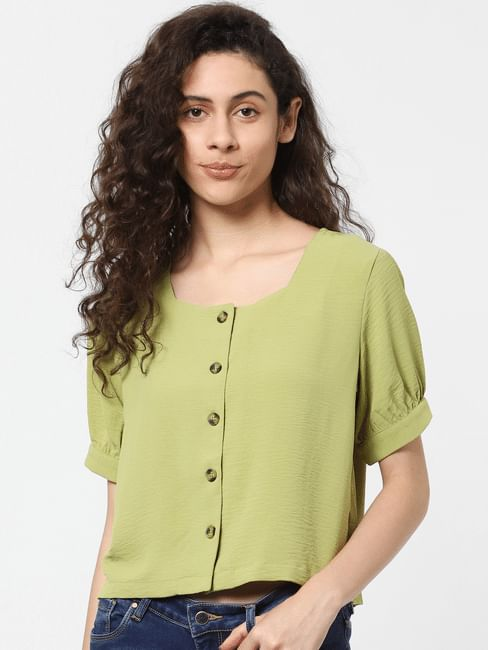 Green Crepe Top