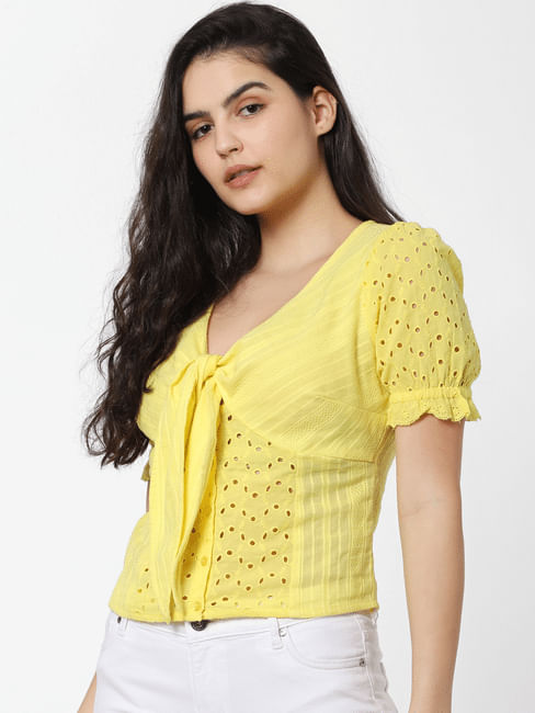 Yellow Cut Work Detail Top