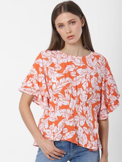 Orange Floral Print Top