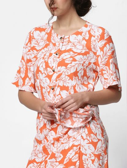 Orange Floral Print Shift Dress