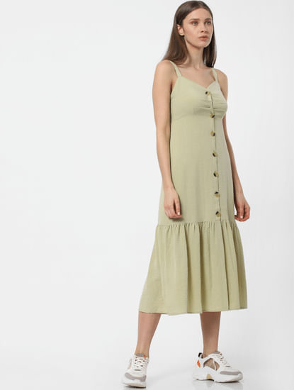 Sage Green Buttoned Midi Dress