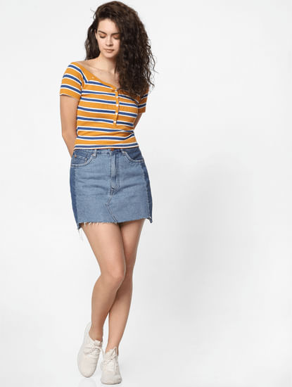 Mustard Striped Cropped Top
