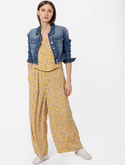 Yellow Floral Print Jumpsuit