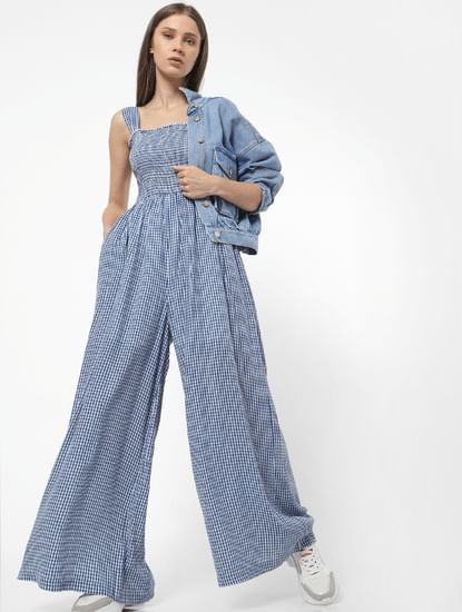 Blue Check Jumpsuit