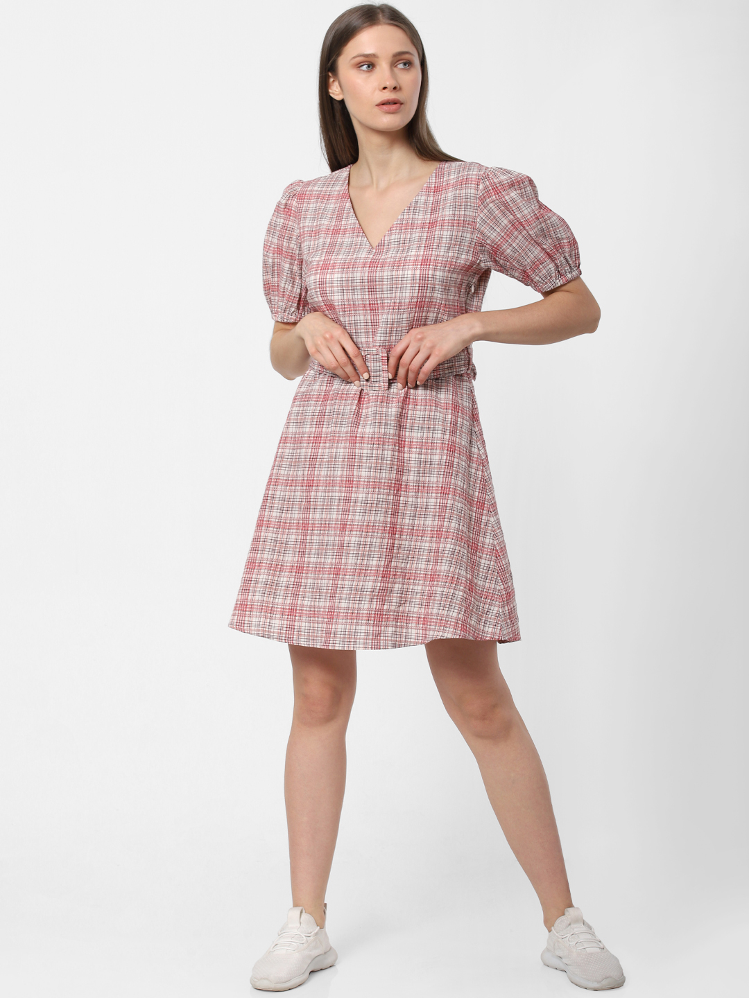 Beige Check Fit & Flare Dress