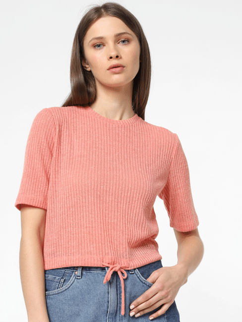 Peach Ribbed Top