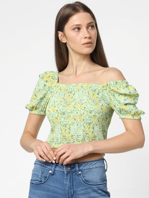 Green Floral Crop Top