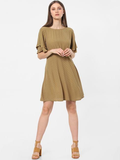 Olive Dotted Print Shift Dress
