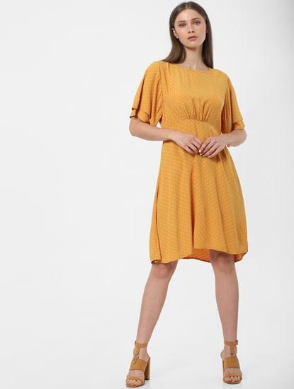 Yellow Dotted Print Shift Dress