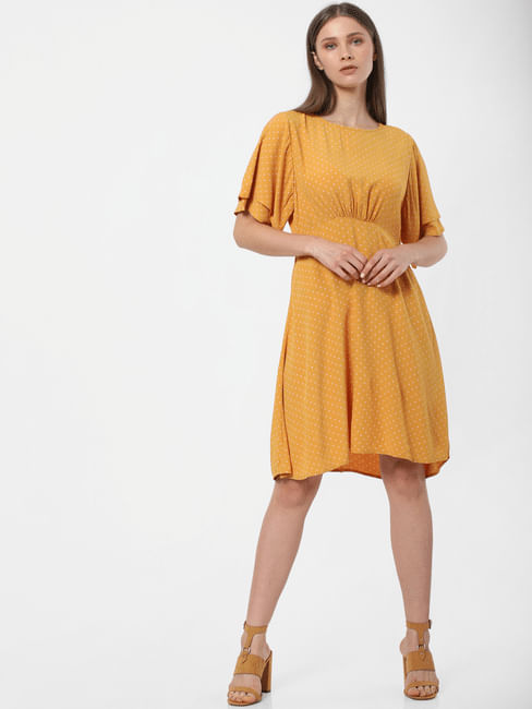 Yellow Dotted Print Shift Dress