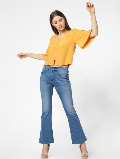 Yellow Printed Loose Fit Top
