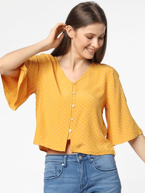 Yellow Printed Loose Fit Top