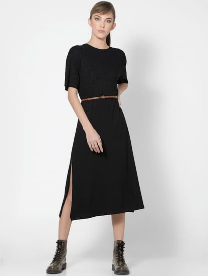 Black Ribbed Jersey Dress