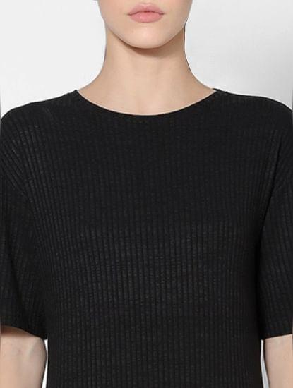 Black Ribbed Jersey Dress