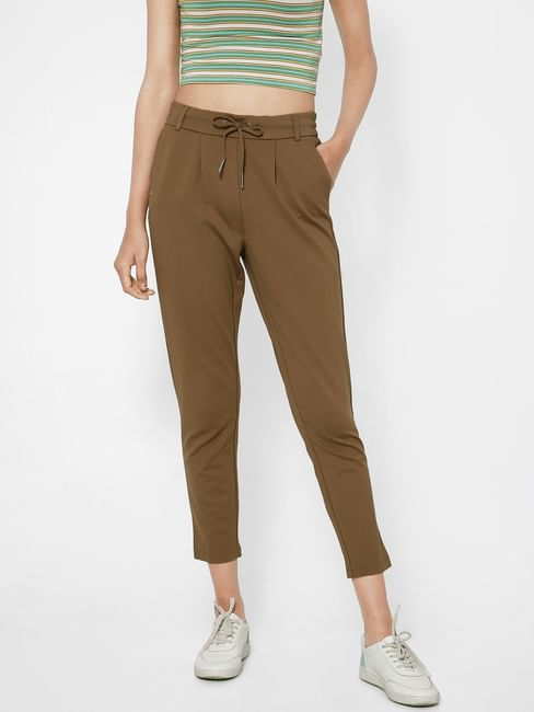 Brown Mid Rise Tapering Pants