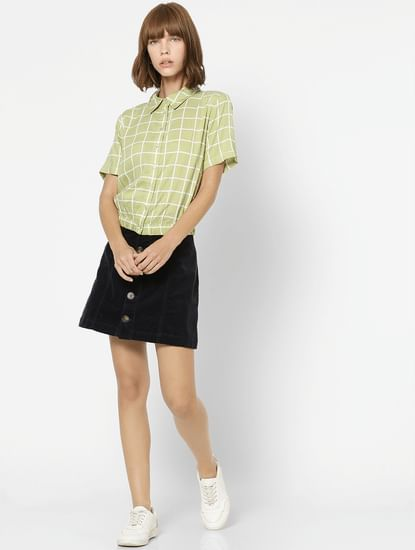 Green Check Button Down Shirt